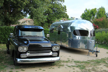 Classic car and caravan