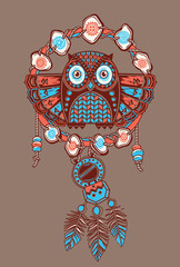 Dream catcher with owl. Vector postcard