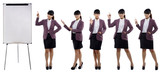 Set of images of young business woman standing with a flip chart