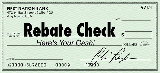 Rebate Check Words Check Money Back Offer Cash Refund