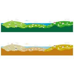 横長風景_海と山の街