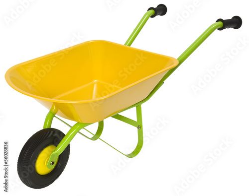 Wheelbarrow isolated on white. Clipping path included.