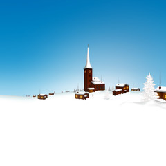 Winterlandschaft, blauer Himmel, Schnee, Dorf, verschneit