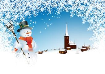 Grußkarte, Vorlage, Winter, Dorf, Stimmung, Schneemann, Eis