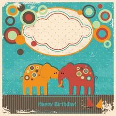 cute elephants greetings card