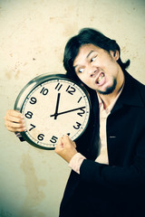 businessman angry the clock
