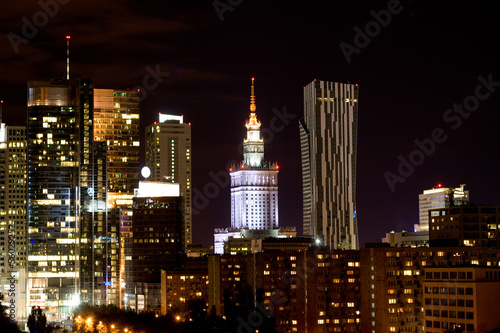 Night view of the city, Warsaw, Poland