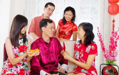 Asian family celebrating chinese new year