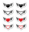 Heart with wings icons set