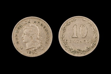 A Ten Peso Coin From Argentina