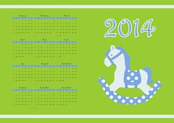 2014 calendar with cute horse