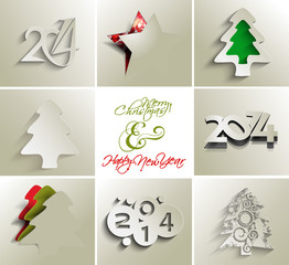 collection of merry christmas and new year 2014, vector