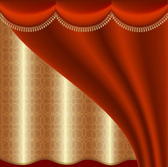 Luxury background with red and gold curtain