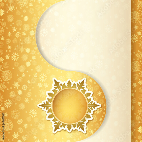 Christmas gift card, snowflake design background.