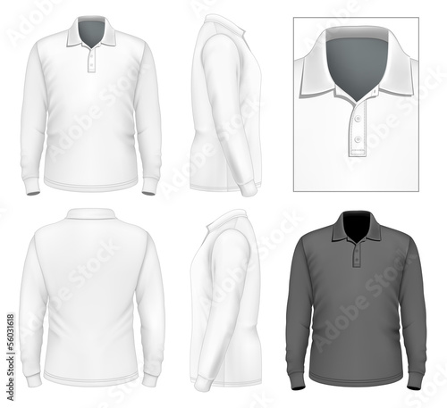 Men's long sleeve polo-shirt design template