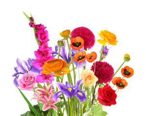 Beautiful bouquet of different flowers isolated on white