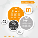 orange circle infographic template with buttons