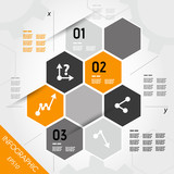 orange infographic hexagons with axis poster