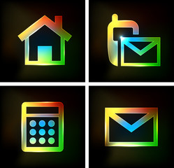 Neon Icon, home, email, phone