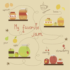Isolated pots of jam. Vintage jams vector collection. Eps 10