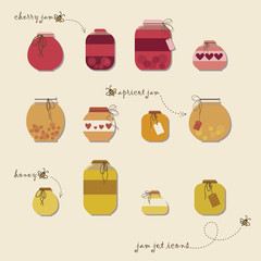 Vintage jams vector collection. Set of different confitures.