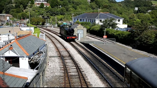 Steam Train pulling in to station in Dartmouth station Devon