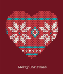 Xmas heart ornaments - seamless knitted background