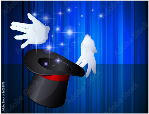 Magic hat. Vector template.