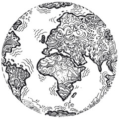 Planet earth sketched doodle