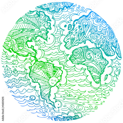 Sketchy doodles: blue and green earth.