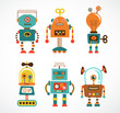 Set of vintage robot icons - 56034623