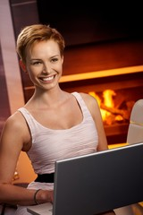 Beautiful woman using laptop