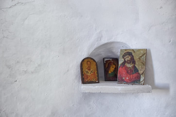 Religious icons in a small chapel, in Dokos island, Greece