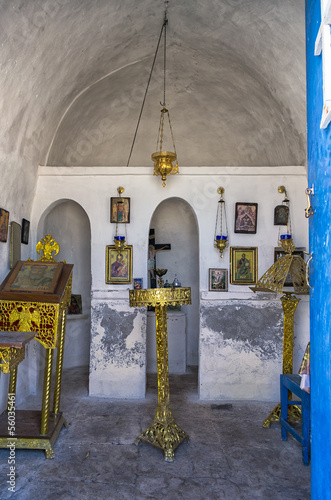 Inside a small chapel in Dokos island, Greece