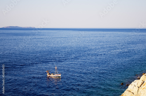 Fishing boat close to coast of Hydra island, Greece