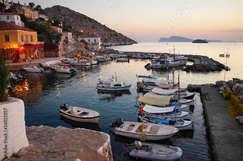 Hydra island, Greece, at dusk