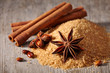 Brown sugar, cinnamon sticks and star anise
