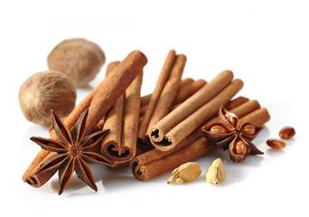 Cinnamon sticks and spices