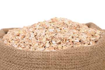Bag of oatmeal flakes. Close up.