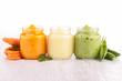 assortment of vegetable puree