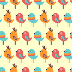 Seamless pattern with lovely birds