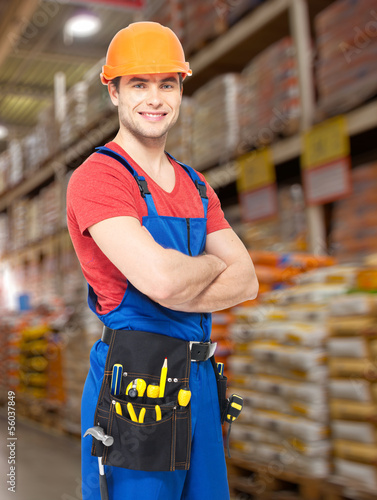 Portrait of the professional handyman at store
