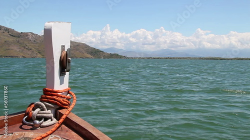 Boat sailing on Lake Skadar, Montenegro - view from the boat