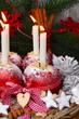 Winteräpfel mit Adventskerzen