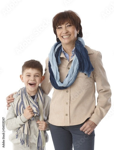Portrait of granny and grandson smiling happy