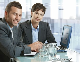 Business people working at meeting table