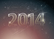 Happy new year card / Number 2014 in night sky