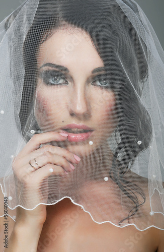Wedding. Portrait of Affectionate Bride Brunette in Veil