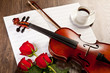 Red roses and a violin