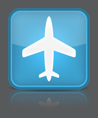 Airplane icon. Sign with reflection isolated on grey.
